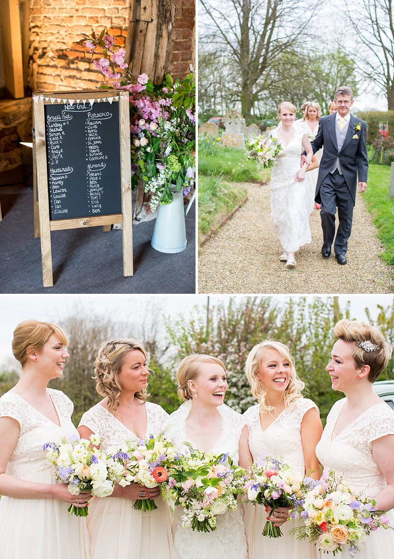 A wedding at Crows Hall with Maggie Sottero Bronwyn lace dress bridesmaids in peach and rustic country garden style flowers gromm and groomsmen in traditional morning suits 0174 Rustic With A Dash Of Magic
