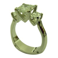Platinum Three Stone Princess and Trapezoidal Cut Diamond ...