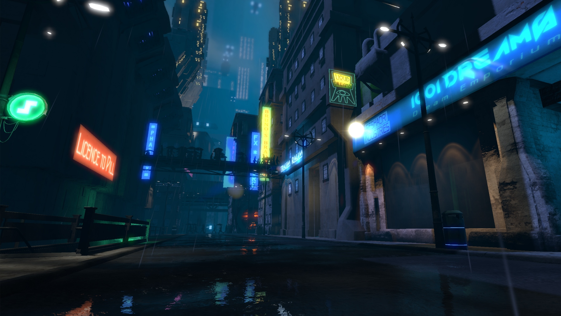 1920x1080 Fall Urban Wallpaper Stark Contrasts Dreamfall Chapters Cyberpunk City Rock