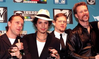 Metallica at European MTV Awards (l-r) Lars Ulrich, Kirk Hammet, Jason Newsted and James Hetfield 