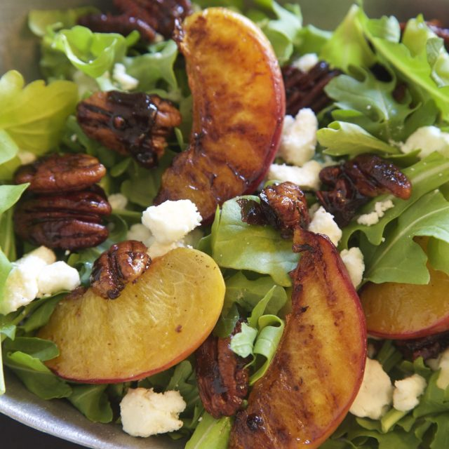 Summer Salad Recipe: Grilled peaches + Candied Pecans | Rockwell