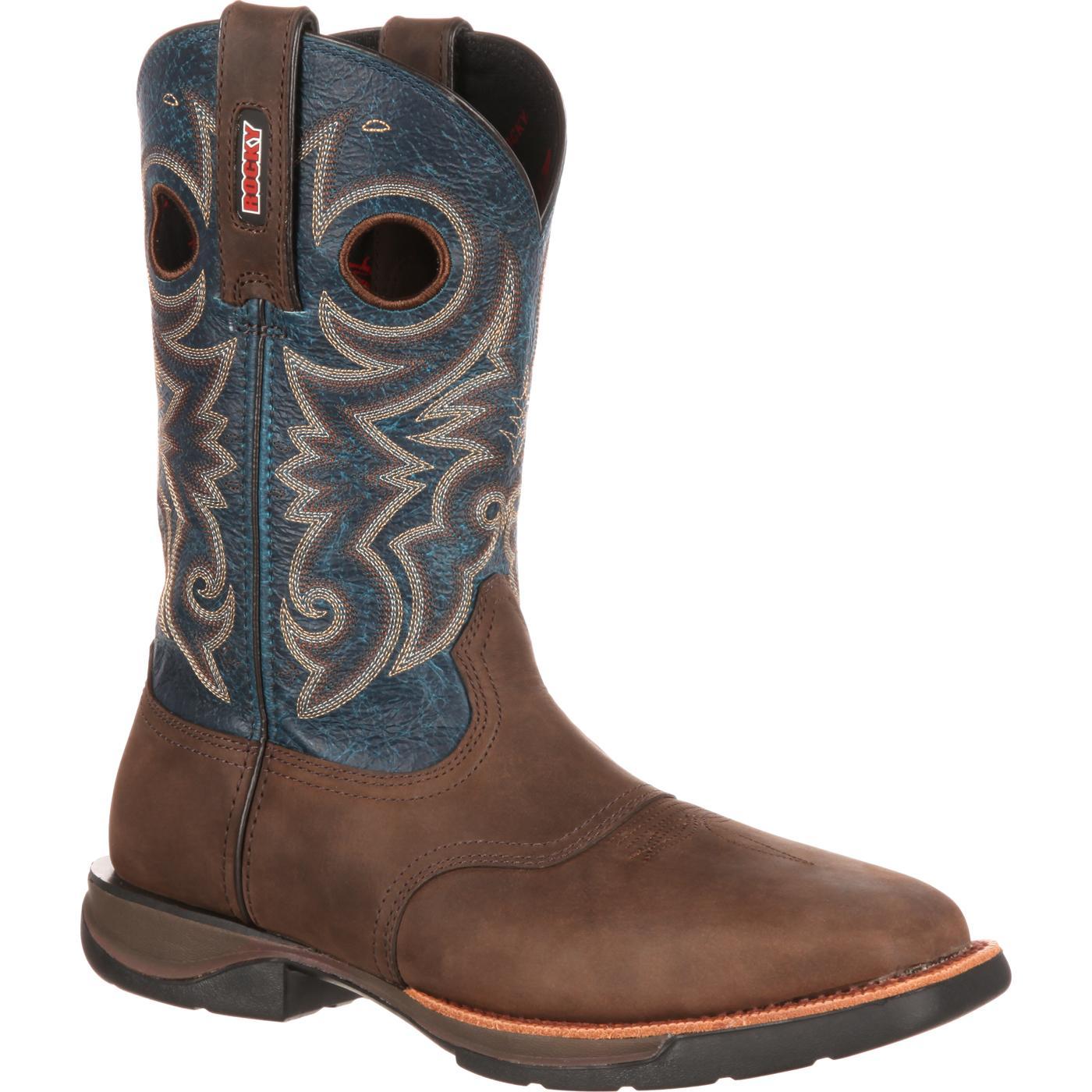 Rocky Lt Men39s Steel Toe Blue Brown Saddle Western Boot