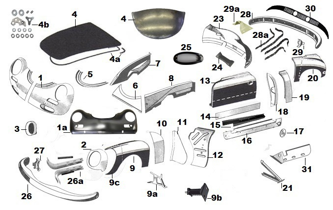 SHEET METAL - EXTERIOR PANELS parts  accessories from Roger Bray