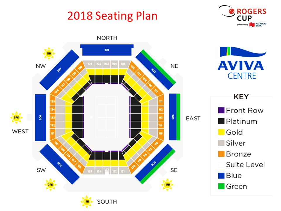2018 Seating Plan - Rogers Cup WTA