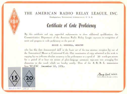 Morse code page of Roger J Wendell - WB JNR (WB0JNR)