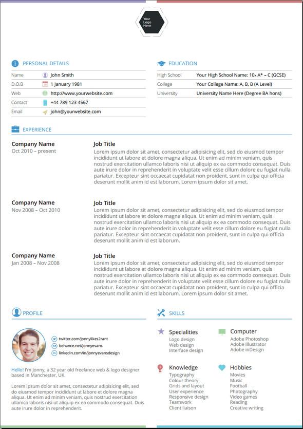 25 Best Free CV Templates PSD, AI, Word DocX Rogue Pony