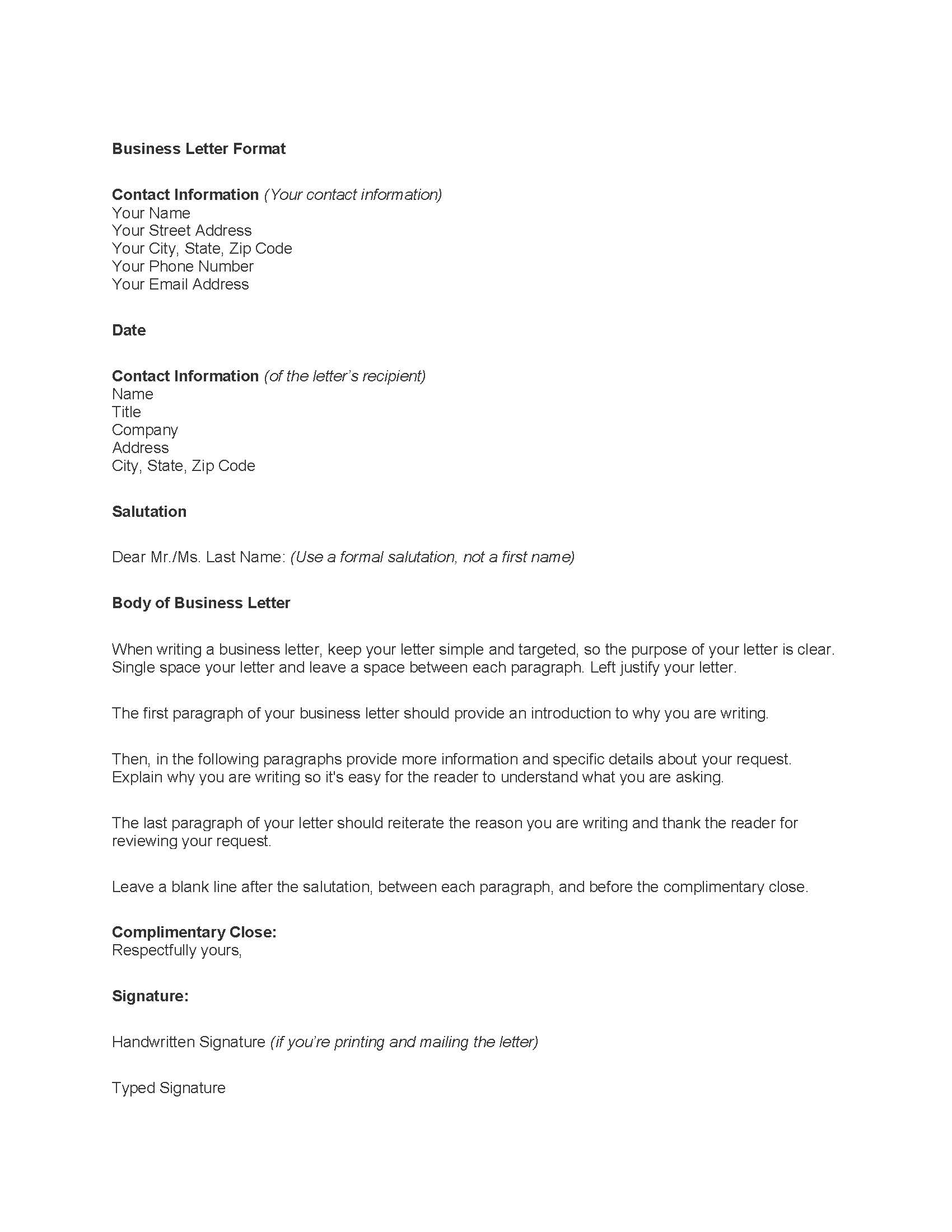 Professional Letter Template Word writing executive summary template