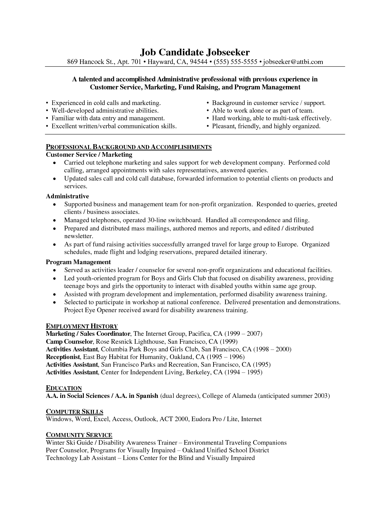 Resume Resume For Customer Service Representative For Call Center sample resume for a customer service representative free business representative