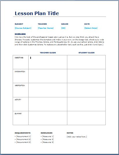 daily lesson plan template word
