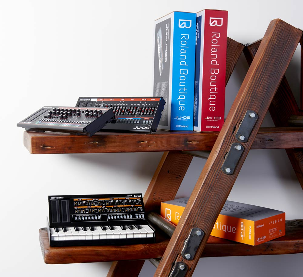 Roland Boutique Modules on Bookshelf