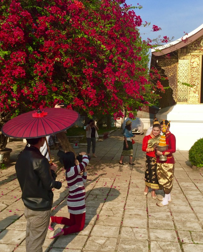 A wedding couple at the temple getting wedding photos done.