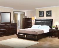 Leather Headboard Storage Bedroom Set - Pheonix Collection