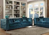 52790 Acme Gillian Dark Teal Velvet Sofa Set Collection