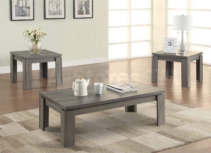 Coaster 701686 Weathered Grey 3 Piece Coffee Table Set - 3 piece living room table set