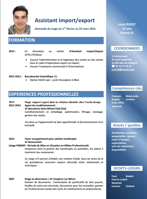 description stage en export sur cv