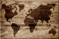 Weltkarte in Holz eingebrannt Leinwand auf Keilrahmen Bild