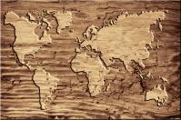 Weltkarte in Holz eingebrannt Leinwand Keilrahmen Bild