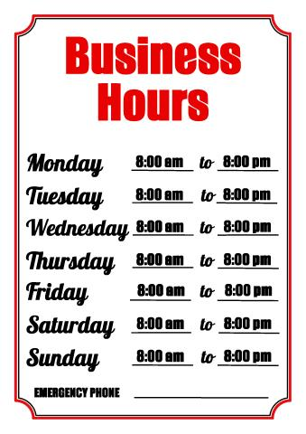 Download business hours sign, make store hours of operation sign