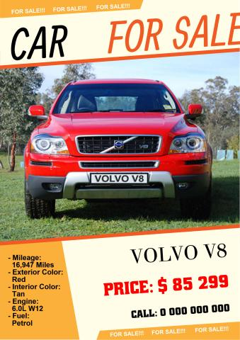 Car for Sale 2 poster template, How to make a Car for Sale 2 poster - for sale poster template