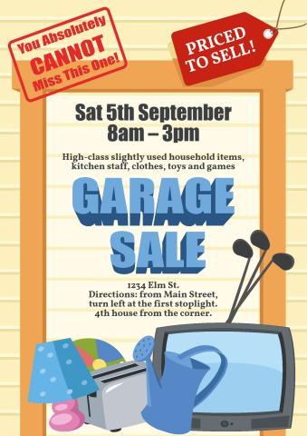 Garage Sale poster template, How to create a Garage Sale poster - for sale poster template