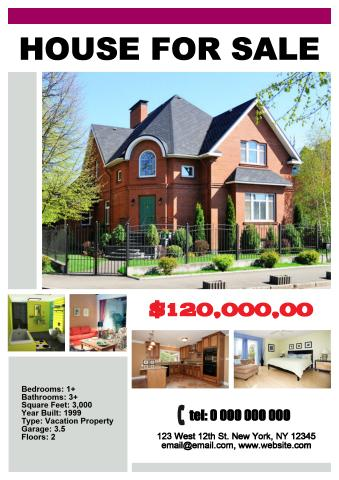 House for Sale poster template, How to make a House for Sale poster