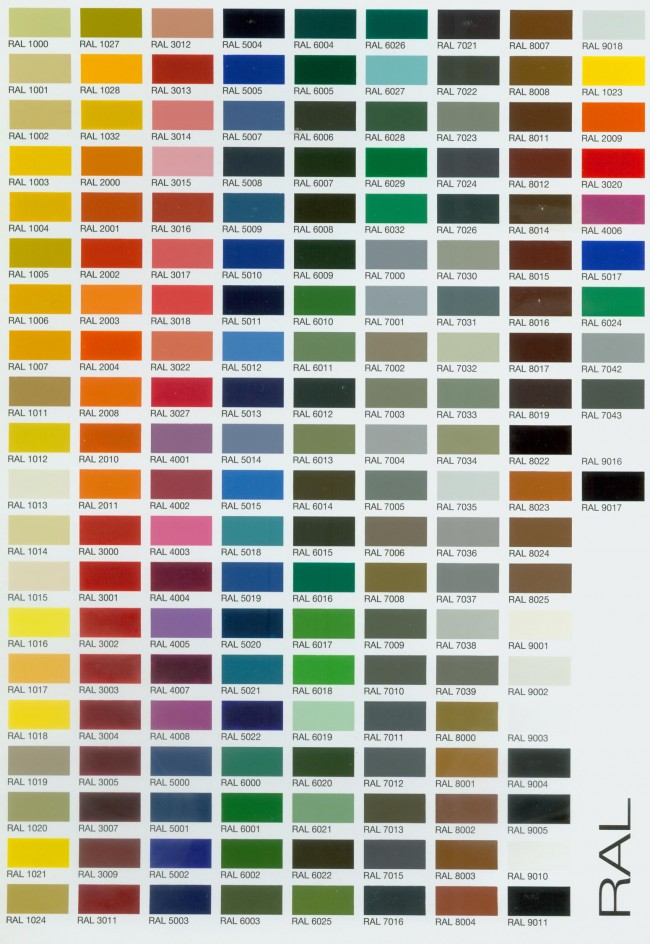 RAL-Color-Chart-Web \u2022 Rooflight Architectural