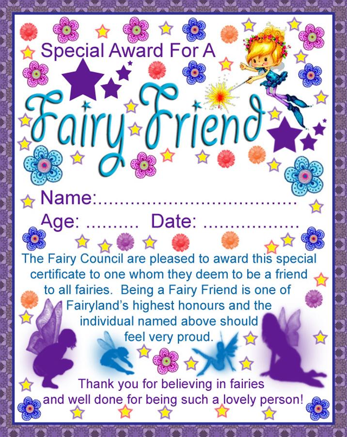 Fairy Friend Certificate Rooftop Post Printables