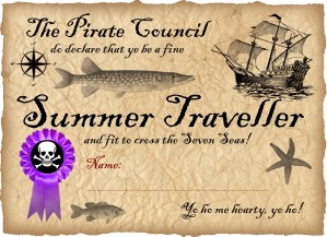 Free printable pirate certificate - summer traveller