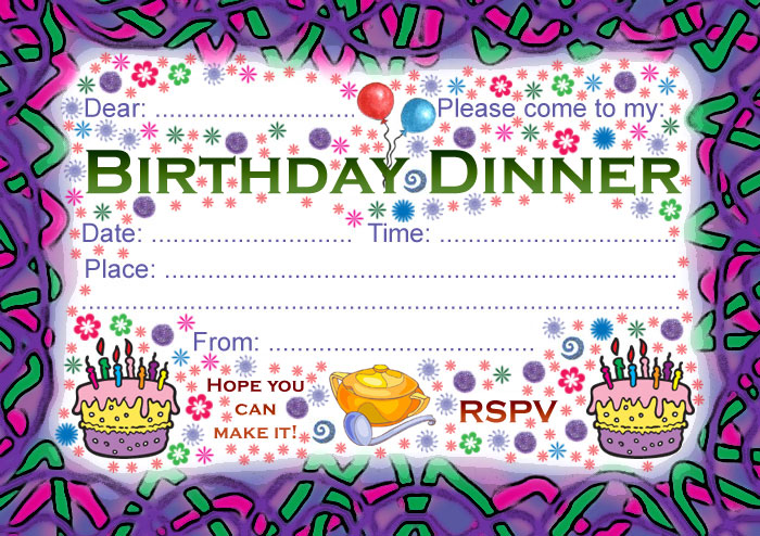printable birthday party invitation cards