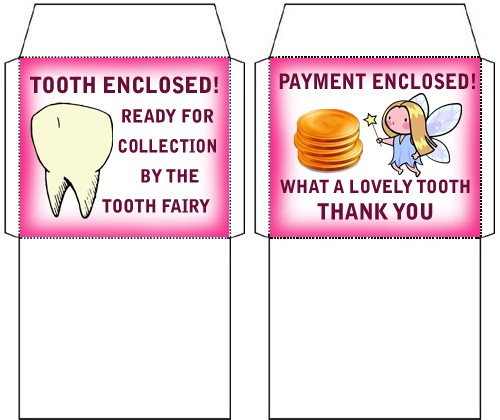 Tiny Tooth Fairy Envelopes One for a Tooth, One for Money Rooftop