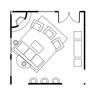 2.2 layout idea for square living room