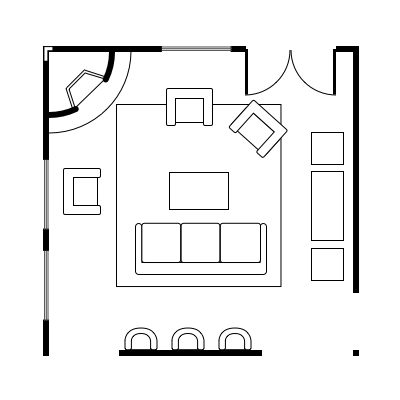 2.3 layout idea for square living room
