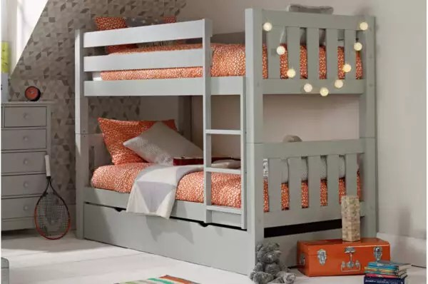 Jubilee Bunk Bed In Soft Grey With Trundle