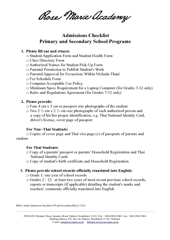 Admissions - Primary and Secondary School Programs Rose Marie Academy