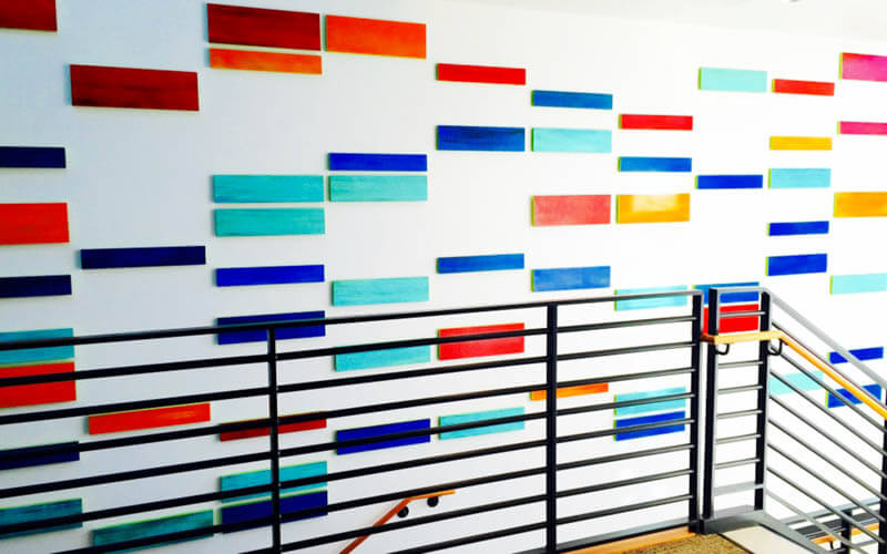 Modern corporate art rosemary pierce wall sculptures for Personalized dna art
