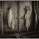 tattered prayer scarves hang limply from heavy wooden temple doors in Ladakh