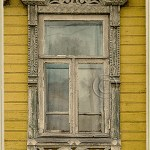 window with Russian wood carving