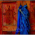 temple doors with blue scarves
