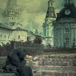 russia, woman dressed in black seems lost in despair