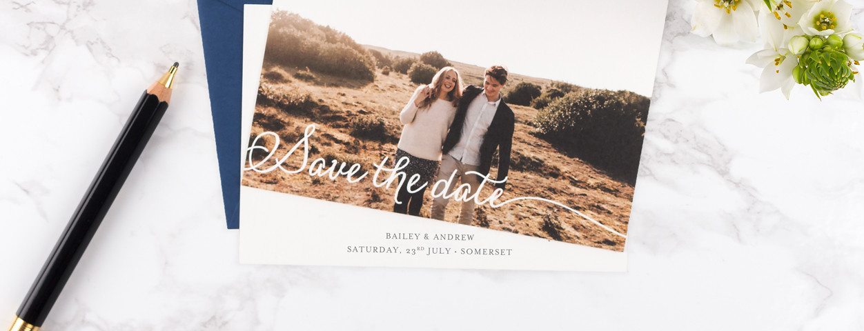 Create unique personalised save the date cards from Rosemood