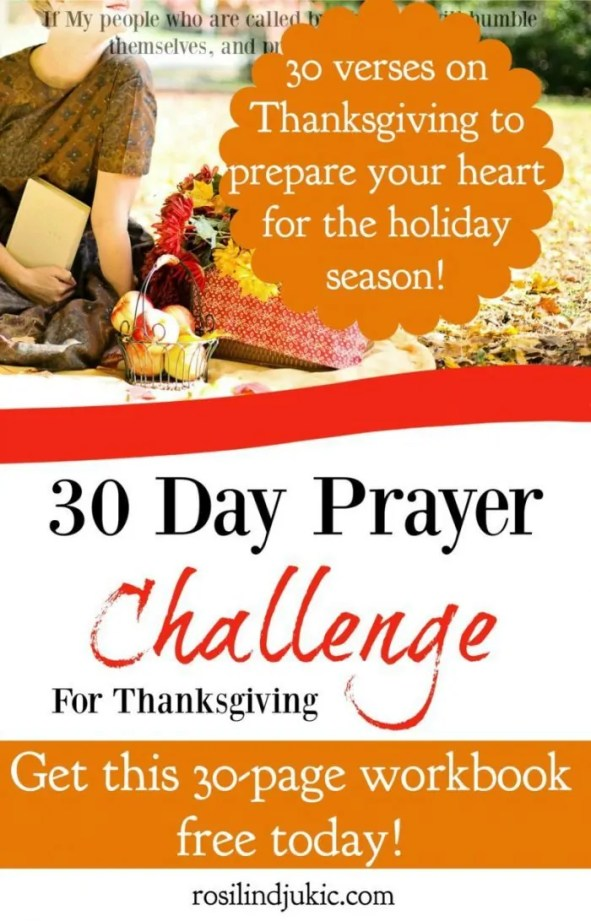 Grab this 30 Day Prayer Challenge today! Filled with 30 verses on thankfulness and praise, this prayer challenge will help train your heart to live a thankful life no matter your circumstance.
