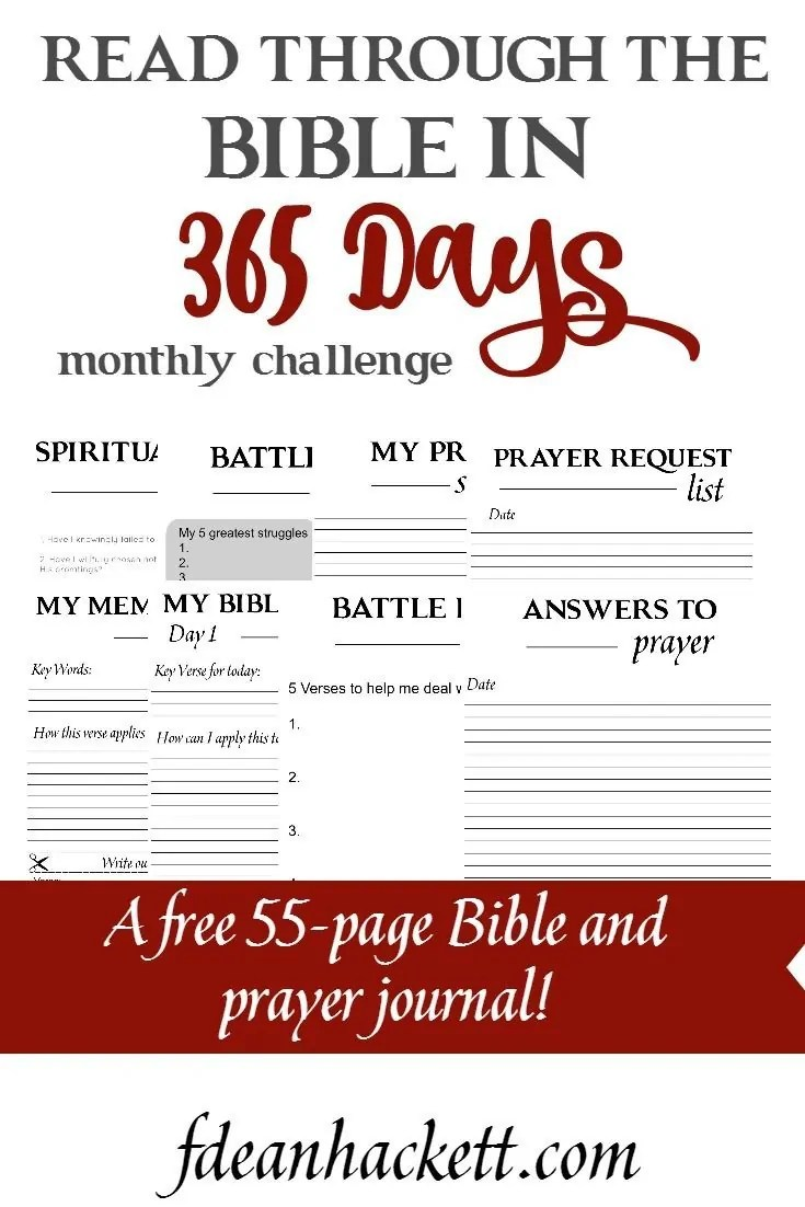 Get this free 55-page Bible reading and prayer journal today and start reading through the Bible. You'll finish up by the end of December! Each month receive a new reading plan and journal right in your inbox.
