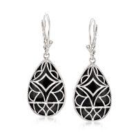 Black Onyx Drop Earrings in Sterling Silver | Ross Simons