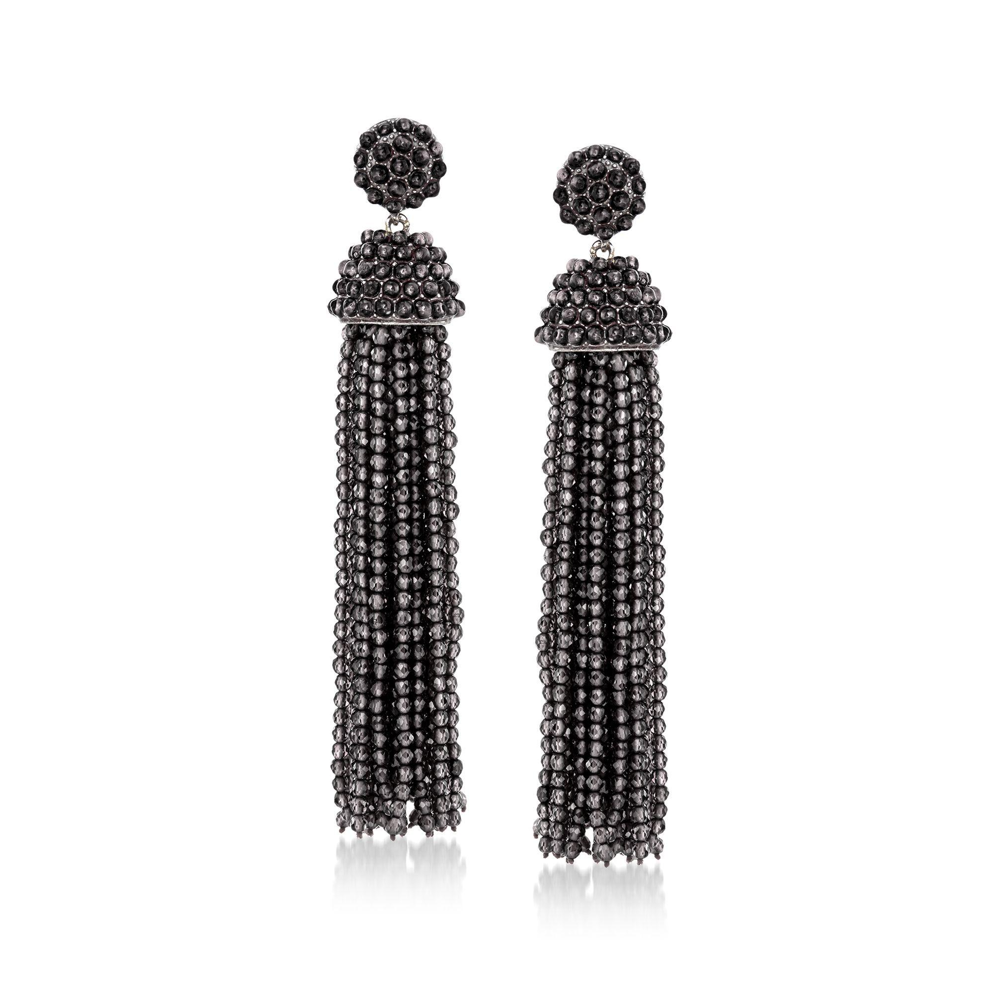 Black Onyx Bead Tassel Drop Earrings in Sterling Silver