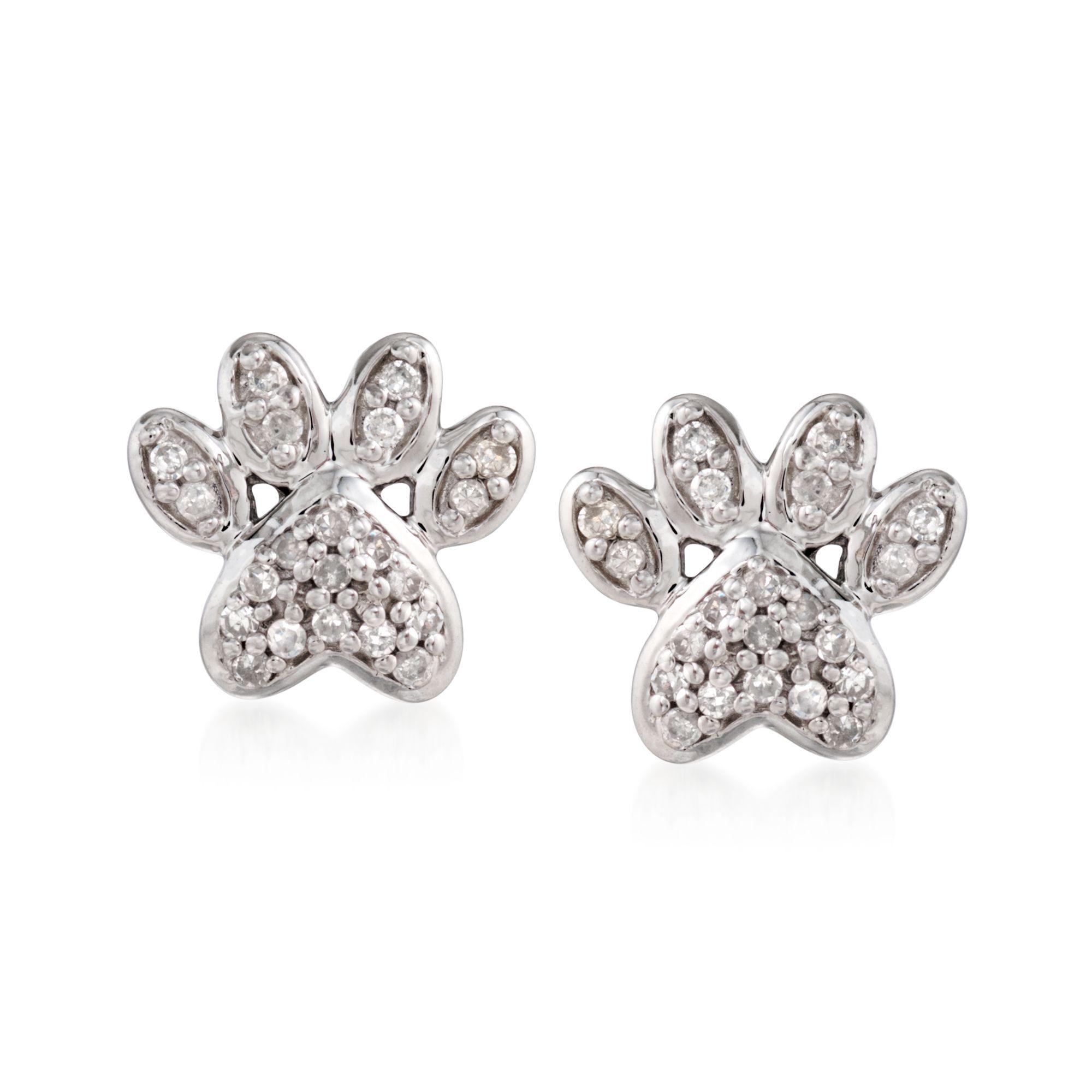 .10 ct. t.w. Diamond Paw Print Stud Earrings in Sterling