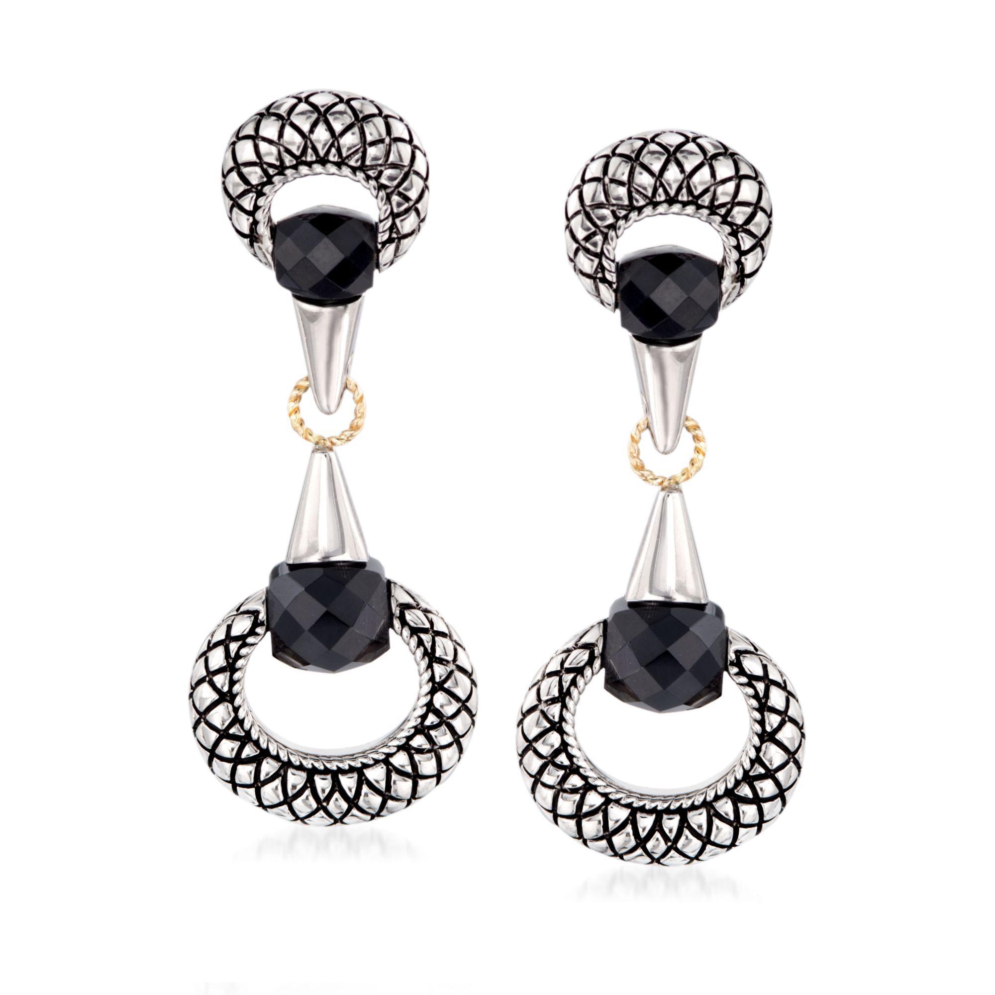 Andrea Candela Black Onyx Drop Earrings in Sterling Silver