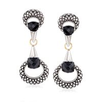 Andrea Candela Black Onyx Drop Earrings in Sterling Silver