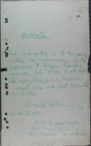 Declaratia olografa a lui Corneliu Zelea Codreanu prin care recunoaste paternitatea scrisorii adresate profesorului Nicolae Iorga