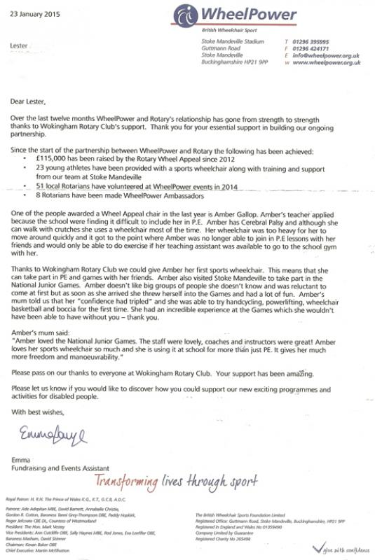 Donations and Thank-you letters - Rotary Club of Wokingham - thank you letter to coach