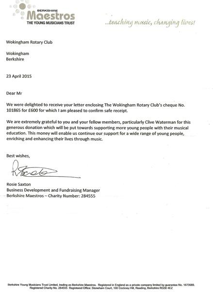 Donations and Thank-you letters - Rotary Club of Wokingham
